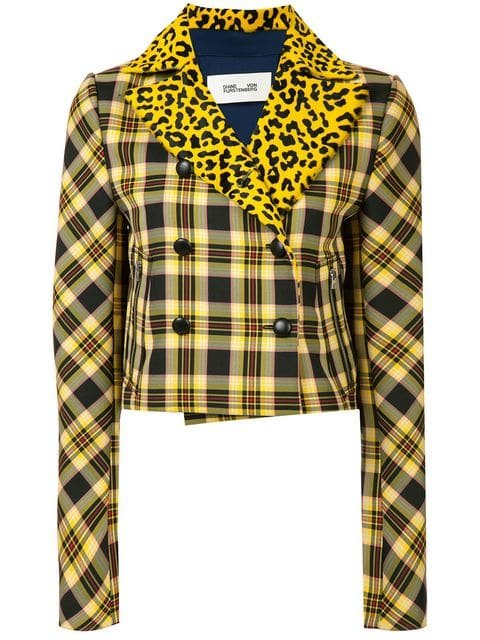 Dvf Diane Von Furstenberg Plaid And Leopard Print Jacket  - Farfetch