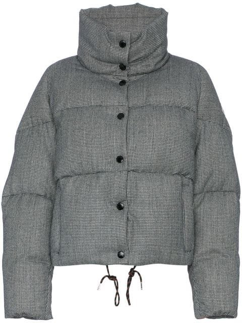 Moncler Salmon Lined And Check Design Wool Puffer Jacket  - Farfetch