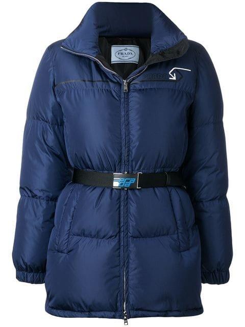 Prada Padded Belted Jacket - Farfetch
