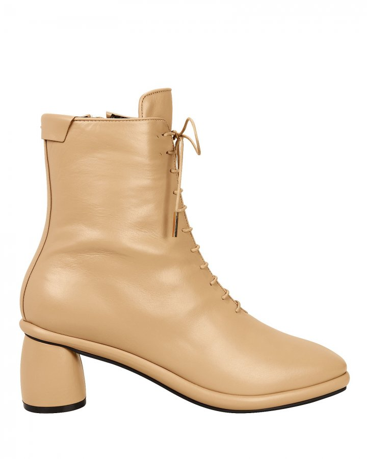 Lace-Up Beige Boots