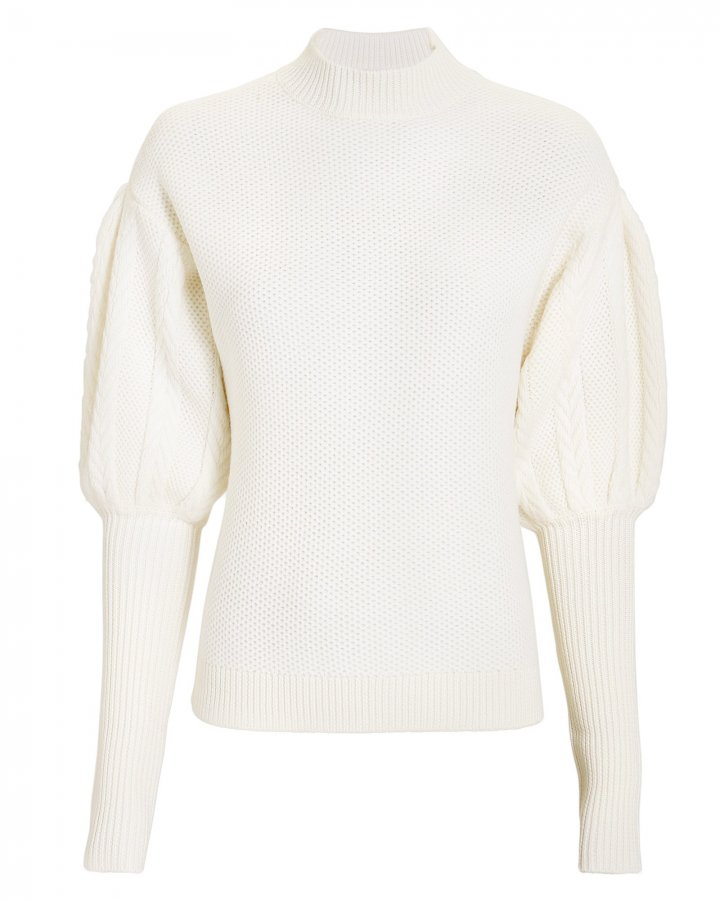 Mixed Knit Puff-Sleeved Sweater
