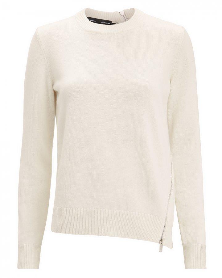 Zip Detail Ivory Sweater