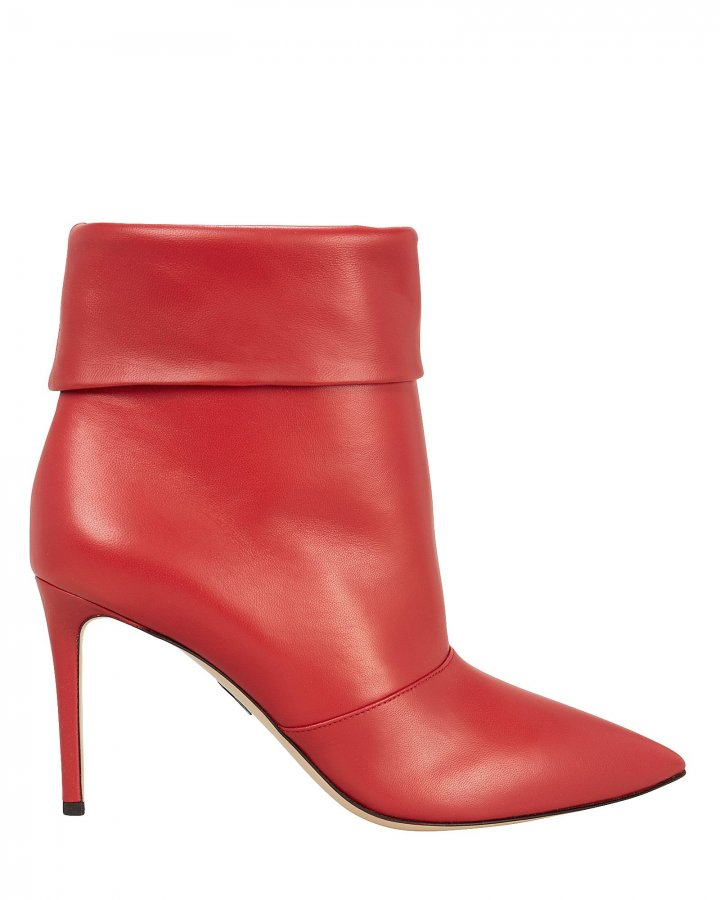 Banner Red Leather Booties