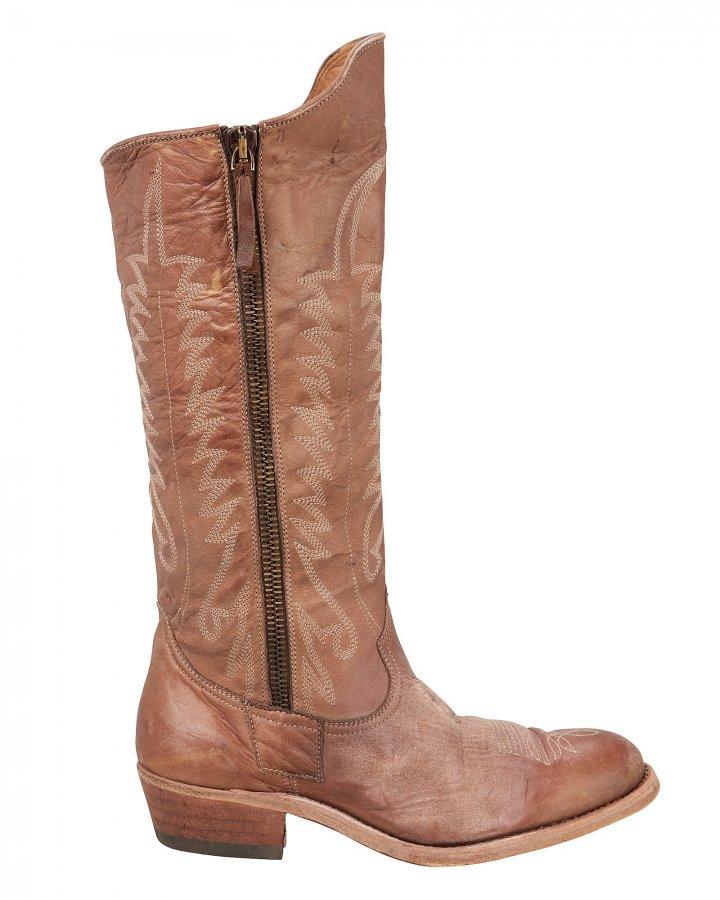 Golden Zip Cowboy Boots