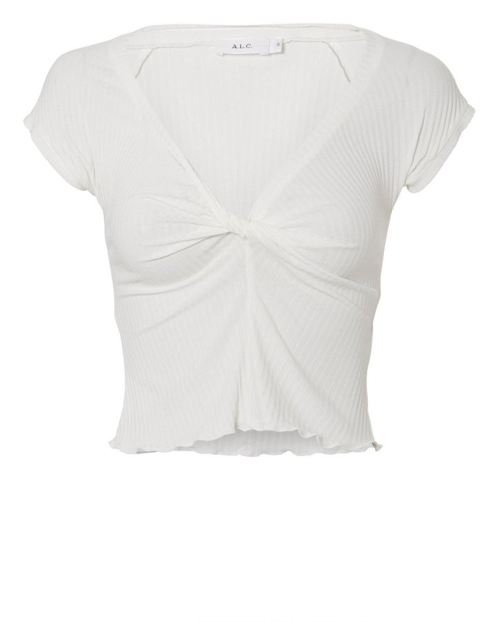 Sabina Twist Front White Crop Top