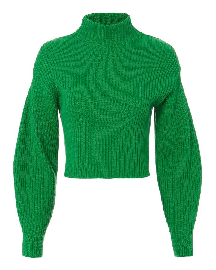 Structured Green Ribbed Pullover