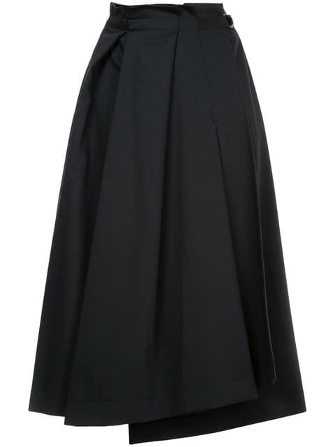Jil Sander Navy Pleated A-line Skirt - Farfetch