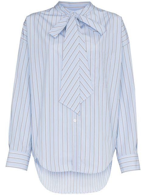 Balenciaga Striped Oversized Logo Shirt - Farfetch