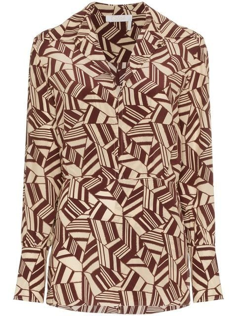 Chloé Geometric Print Silk Shirt - Farfetch