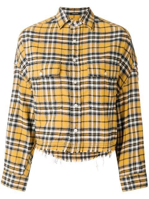 R13 Cropped Plaid Print Shirt - Farfetch