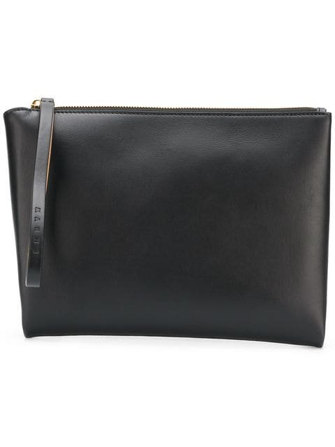 Marni Brown And Black Leather Clutch With Handle - Farfetch