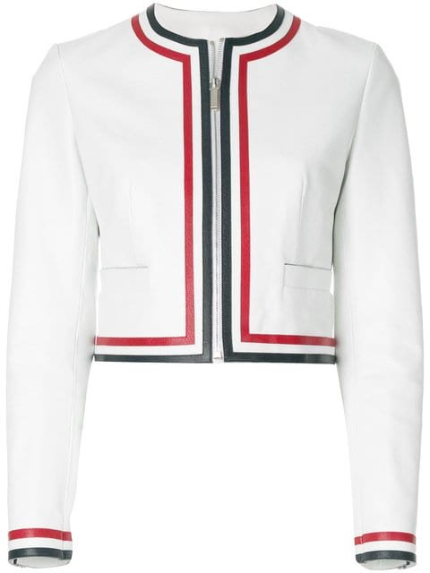 Thom Browne Zip Up Cardigan Jacket With Red, White And Blue Applique In Pebble Grain Leather - Farfetch