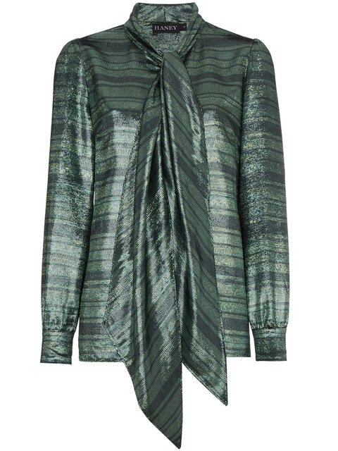 Haney Susanna Silk Neck Scarf Striped Blouse - Farfetch