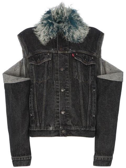 Beau Souci Shearling Collar Cut Out Denim Jacket  - Farfetch