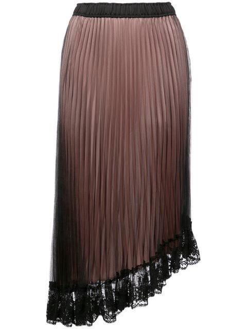 Clu Asymmetric Lace Hem Pleated Skirt  - Farfetch
