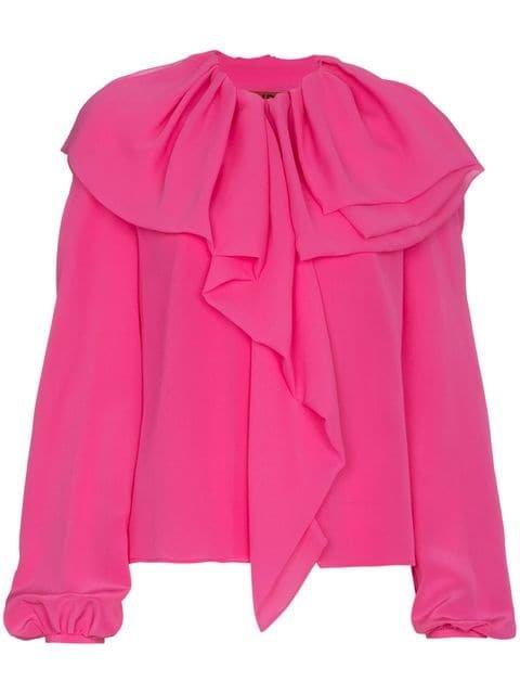 Ronald Van Der Kemp Ruffle Puff Sleeve Silk Blouse  - Farfetch