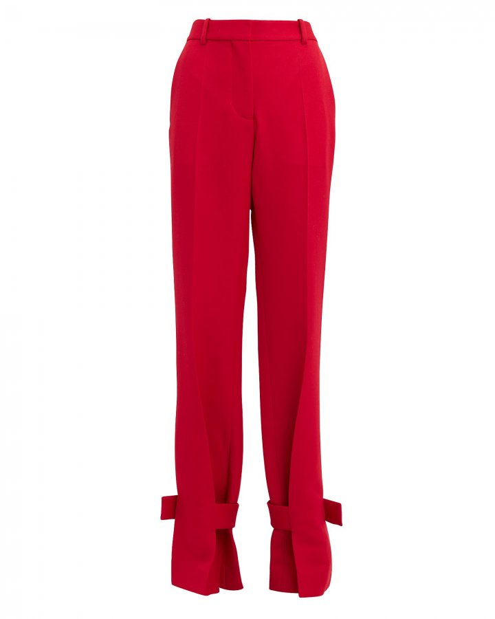 Red Wrapped Ankle Trousers