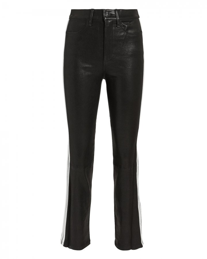 Striped Cigarette Leather Pants