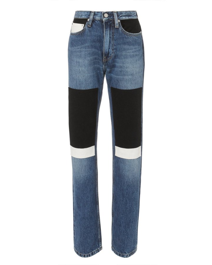 High-Rise Straight Patch Jeans