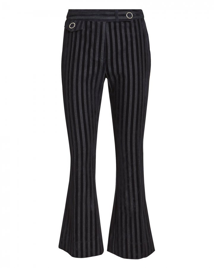 Striped Crop Flare Trousers