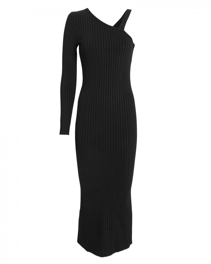 Ribbed Slanted Midi Dress