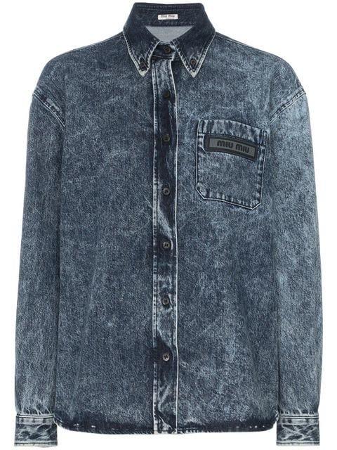 Miu Miu Stonewash Denim Shirt - Farfetch