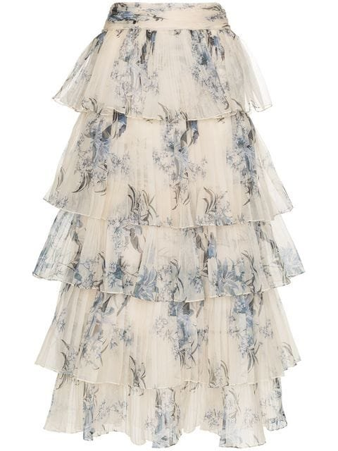 Johanna Ortiz Journey Of The Soul Floral Print Tiered Silk Skirt - Farfetch