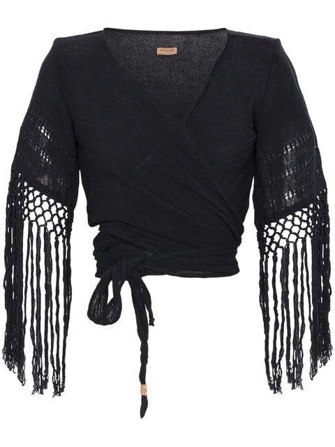 Caravana Luum Fringed Basketweave Cotton Wrap Top - Farfetch