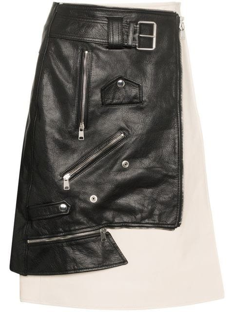 Alexander McQueen Leather Biker Jacket Skirt - Farfetch