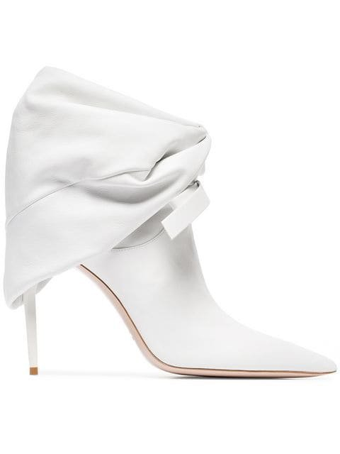Miu Miu White 105 Leather Slouch Ankle Boots  - Farfetch