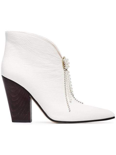 Magda Butrym White Belgium 90 Leather Ankle Boots With Detachable Jewels - Farfetch