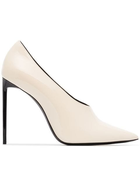 Saint Laurent White Teddy 105 Patent Leather Pumps - Farfetch