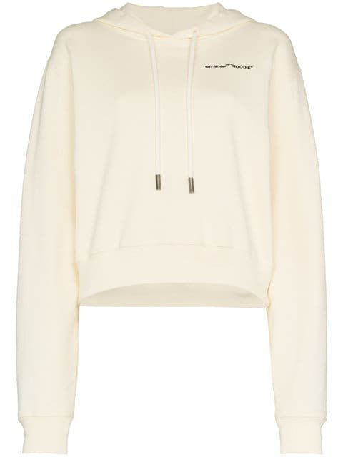 Off-White White Logo Embroidered Cropped Long Sleeve Cotton Hoodie - Farfetch