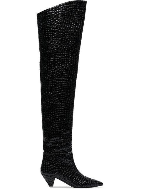 Attico Black Crocodile Print 45 Leather Over-the-knee Boots - Farfetch