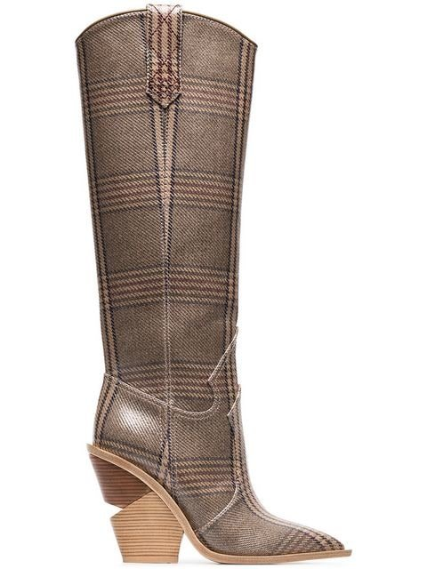 Fendi Brown And Blue Cutwalk Check 100 Leather Boots - Farfetch