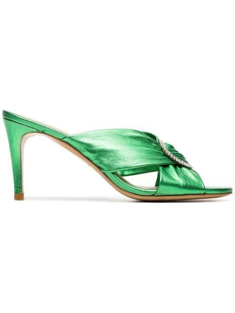 Kalda Green Vasa 85 Crystal Buckle Leather Sandals - Farfetch
