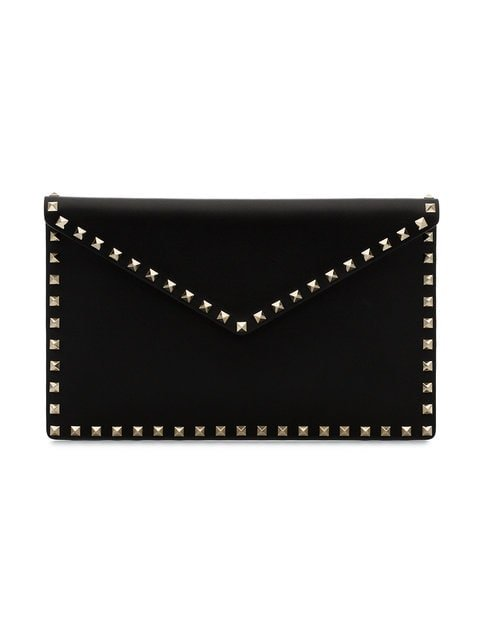 Valentino Valentino Garavani Black Rockstud Leather Envelope Clutch - Farfetch
