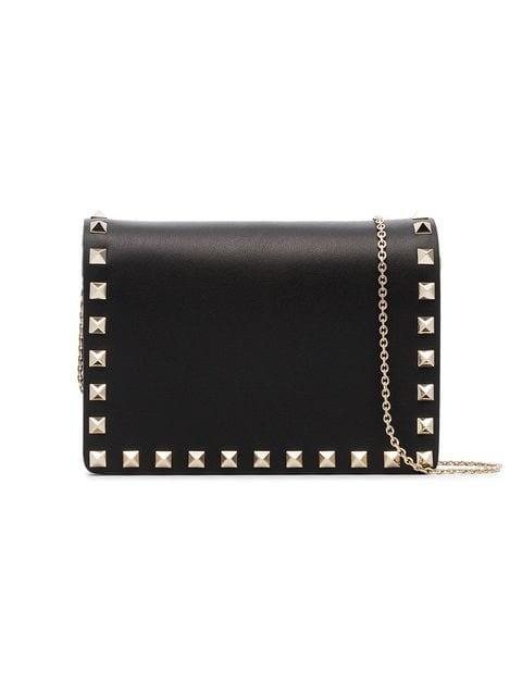 Valentino Valentino Garavani Black Rockstud Studded Leather Wallet On a Chain - Farfetch