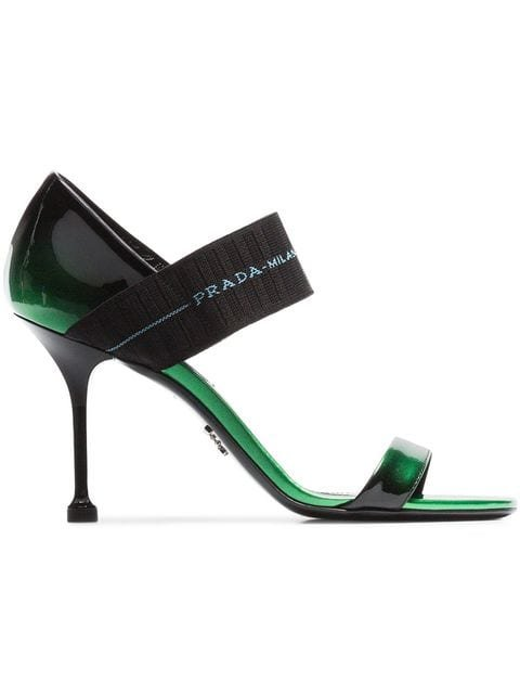 Prada Elasticated Strap Over 90 Patent Leather Sandals - Farfetch