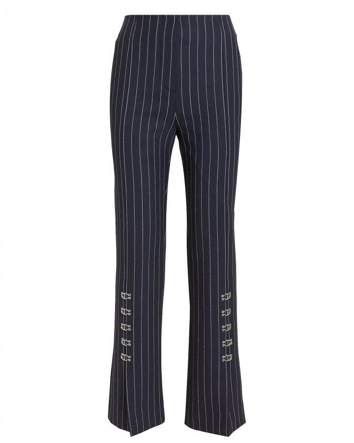 Pinstriped Tailored Cigarette Pants
