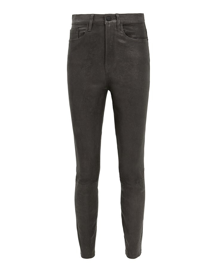 Ali High-Rise Charcoal Leather Pants