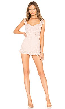 Lace Ruffle Romper In Rose Smoke                                             BCBGeneration
