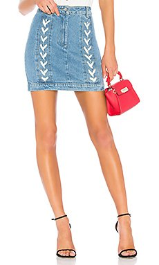 Lace Up Denim Skirt                                             Endless Rose
