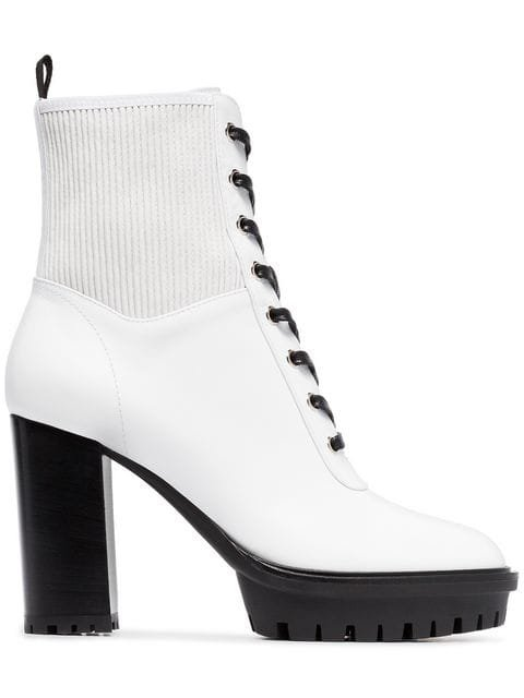 Gianvito Rossi White 70 Laceup Leather Boots  - Farfetch