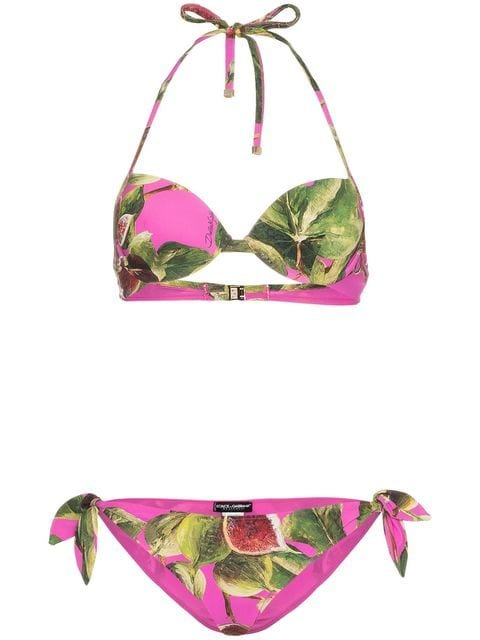 Dolce & Gabbana Fig Print Balconette String Bikini - Farfetch