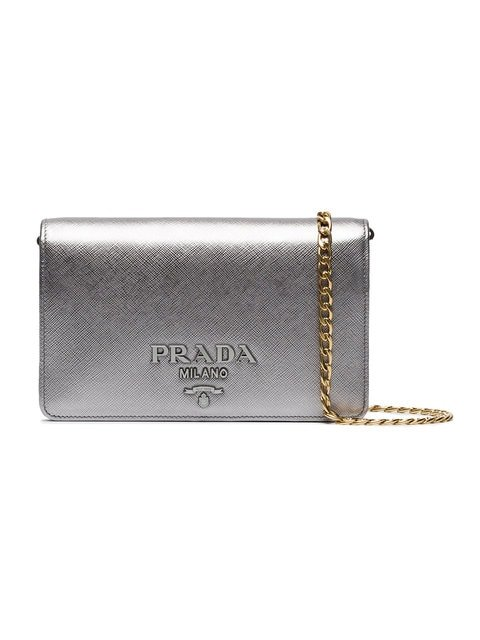 Prada Silver Saffiano Leather Wallet On Chain Bag - Farfetch
