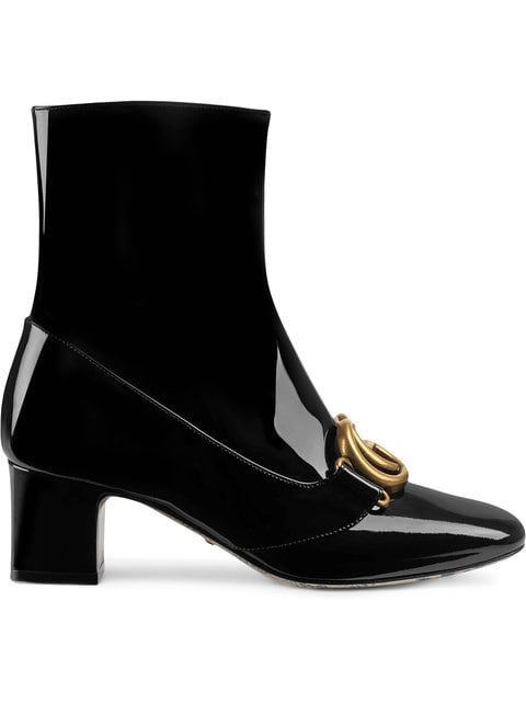 Gucci Patent Leather Ankle Boot With Double G - Farfetch