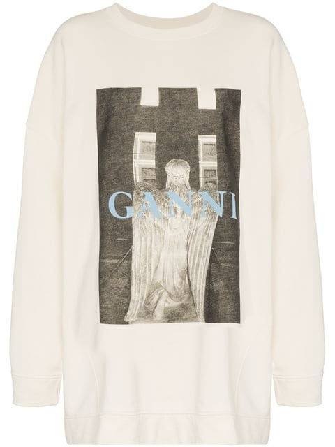 Ganni Oversized Printed Sweater - Farfetch