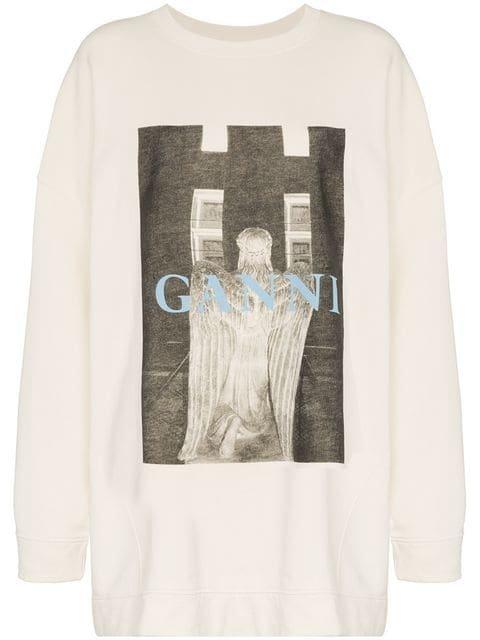 Ganni Oversized Printed Sweater - Farfetch