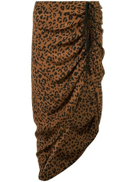 Dvf Diane Von Furstenberg Ruched Leopard Print Skirt  - Farfetch